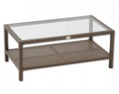 Tisch mit Glasplatte Cuba aus Polyrattan, braun