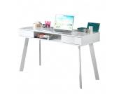 Laptoptisch Tamale - Hochglanz Weiß - mit zwei Schubkästen, home24 office