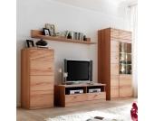 Wohnzimmer-Wohnwand aus Kernbuche Geschroppte Flächen (4-teilig)
