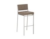 hochwertiger Edelstahl Barhocker ASPRI mit 4 Fuß Gestell, Sitzhöhe 77 cm, aus bis zu 6 Farben wählen, mit Rückenlehne & Fußstütze