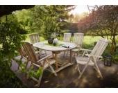 Cats Collection 7 teiliges Teak Gartenmöbel Set mit Auszugstisch 180 - 240 cm und sechs Gartenstühlen