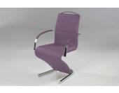 Kasper Wohndesign Pearl Freischwinger Stuhl mit Armlehnen Lederimitat Brombeer