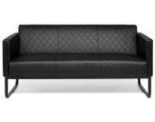 Loungesofa ARUBA BLACK Gestell schwarz Kunstleder 3-Sitzer schwarz hjh OFFICE