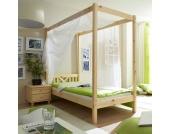 Einzelbett mit Himmel Massivholz