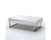 Wohnzimmertisch mit Schublade Weiß Hochglanz