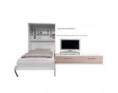 Schrankbett-Kombination Majano - 160 x 205 cm - Kaltschaummatratze - Weiß / Eiche Sonoma Dekor, Modoform