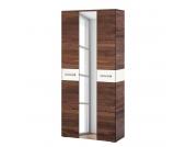Garderobenschrank Giaveno II - Nussbaum / Glas Weiß - Metall Matt, Wittenbreder