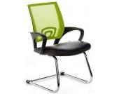 Konferenzstuhl / Freischwinger / Stuhl VISTO NET V Netzstoff schwarz / grün Chrom hjh OFFICE