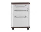 Rollcontainer Avero - 3 Schubladen, Hängeregisterauszug, abschließbar - Wenge/Silber Dekor, home24 office