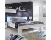 Bett in Grau Weiß