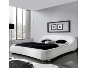 Polster Doppelbett mit weißem Kunstlederbezug modern