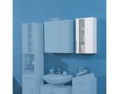 Badezimmer Hängeschrank in Weiß Milchglas